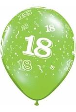 "11"" Printed Festive #18 Around Balloon 1 Dozen Flat"