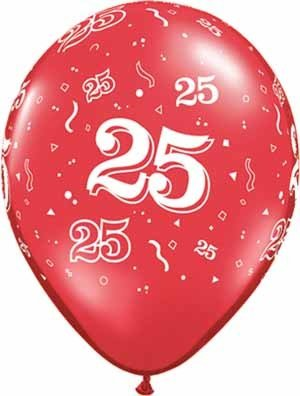 "11"" Printed Festive #25 Around Balloon 1 Dozen Flat"