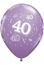 "11"" Printed Festive #40 Around Balloon 1 Dozen Flat"