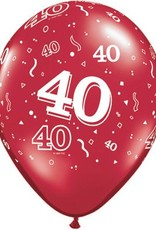 "11"" Printed Ruby Red #40 Around Balloon 1 Dozen Flat"