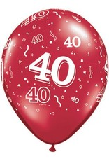 "11"" Printed Ruby Red #40 Around Balloon 1 Dozen Flat"