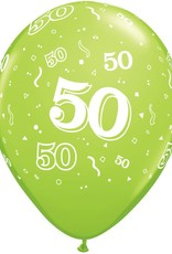 "11"" Printed Festive #50 Around Balloon 1 Dozen Flat"