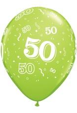 "11"" Printed Festive #50 Around Balloon 1 Dozen Flat"