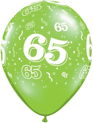 "11"" Printed Festive #65 Around Balloon 1 Dozen Flat"