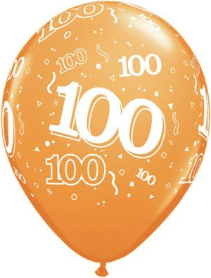 "11"" Printed Festive #100 Around Balloon 1 Dozen Flat"