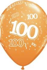 "11"" Printed Festive #100 Around Balloon 1 Dozen Flat"