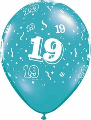 "11"" Printed Festive #19 Around Balloon 1 Dozen Flat"