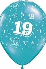"11"" Printed Festive #19 Around Balloon 1 Dozen Flat"