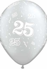 "11"" Printed #25 Around Silver Balloon 1 Dozen Flat"