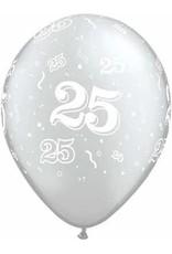 "11"" Printed #25 Around Silver Balloon 1 Dozen Flat"