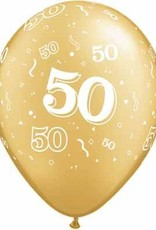 "11"" Printed Gold #50 Around Balloon 1 Dozen Flat"