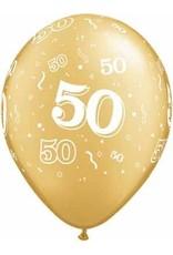 "11"" Printed Gold #50 Around Balloon 1 Dozen Flat"