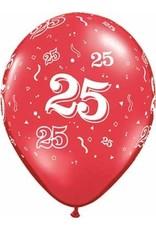 "11"" Printed #25 Around Balloon 1 Dozen Flat"