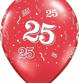 "11"" Printed #25 Around Balloon 1 Dozen Flat"