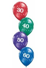 "11"" Printed #50 Around Balloon 1 Dozen Flat"