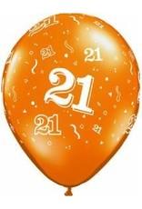 "11"" Printed #21 Around Balloon 1 Dozen Flat"