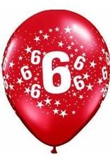 "11"" Printed #6 Around Balloon 1 Dozen Flat"