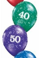 "11"" Printed #40 Around Balloon 1 Dozen Flat"