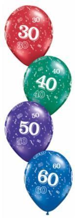 "11"" Printed #60 Around Balloon 1 Dozen Flat"