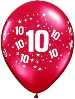 "11"" Printed #10 Around Balloon 1 Dozen Flat"