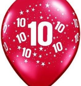 "11"" Printed #10 Around Balloon 1 Dozen Flat"