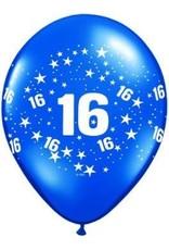 "11"" Printed #16 Around Balloon 1 Dozen Flat"