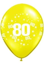 "11"" Printed #80 Around Balloon 1 Dozen Flat"