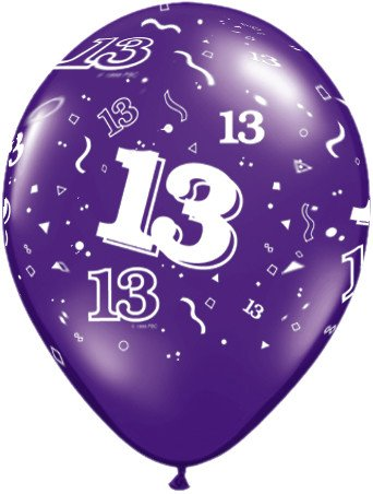 "11"" Printed #13 Around Balloon 1 Dozen Flat"