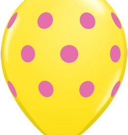 "11"" Printed Assortment Big Polka Dots Balloon 1 Dozen Flat"