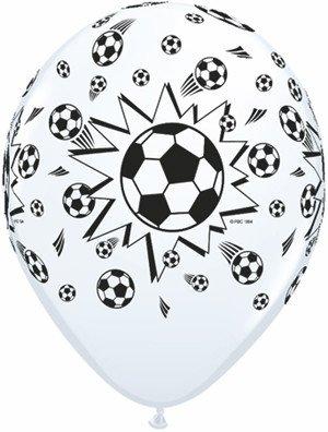 "11"" Printed White Soccer Balls Balloon 1 Dozen Flat"