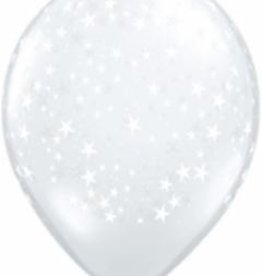 "11"" Printed Clear Stars Around Balloon 1 Dozen Flat"