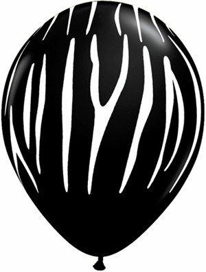 """11"""" Onyx Black Zebra Stripes Balloon Uninflated"""