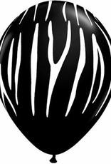 "11"" Printed Onyx Black Zebra Stripes Balloon 1 Dozen Flat"