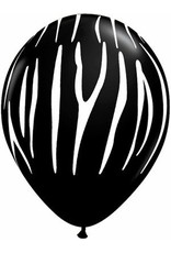 "11"" Printed Onyx Black Zebra Stripes Balloon 1 Dozen Flat"
