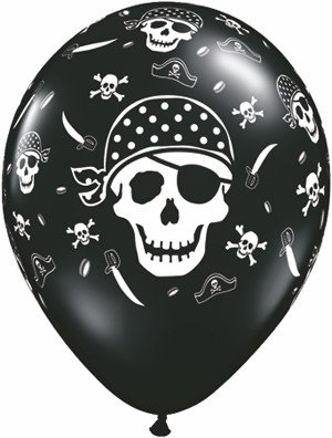 "11"" Printed Pirate Skull & Crossbone Balloon 1 Dozen Flat"