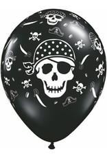 "11"" Printed Pirate Skull & Crossbone Balloon 1 Dozen Flat"