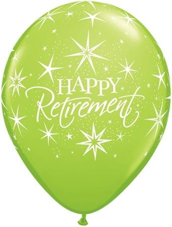 "11"" Printed Happy Retirement Bursts Balloon 1 Dozen Flat"