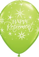 "11"" Printed Happy Retirement Bursts Balloon 1 Dozen Flat"