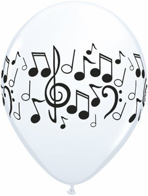 """11"""" Printed White Music Notes Balloon 1 Dozen Flat"""