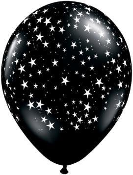"11"" Printed Black Stars Around Balloon 1 Dozen Flat"