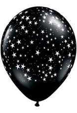 "11"" Printed Black Stars Around Balloon 1 Dozen Flat"