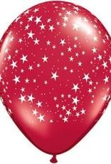 "11"" Printed Ruby Red Stars Around Balloon 1 Dozen Flat"