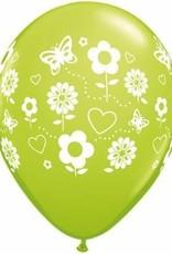"11"" Printed Spring Fun Flowers Balloon 1 Dozen Flat"