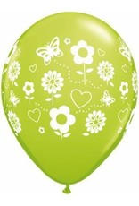 "11"" Printed Spring Fun Flowers Balloon 1 Dozen Flat"