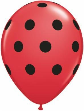 "11"" Printed Red Big Polka Dots Balloon 1 Dozen Flat"