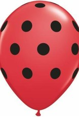 "11"" Printed Red Big Polka Dots Balloon 1 Dozen Flat"
