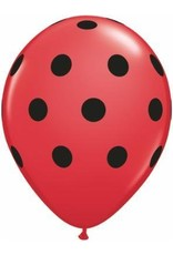 "11"" Red Big Polka Dots Balloon Uninflated"