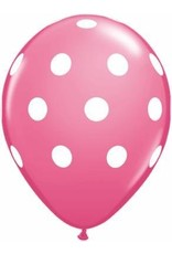 "11"" Printed Rose Big Polka Dots Balloon 1 Dozen Flat"