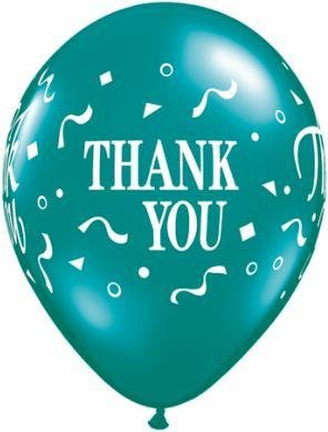"11"" Printed Fantasy Thank You Confetti Balloon 1 Dozen Flat"