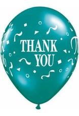 "11"" Printed Fantasy Thank You Confetti Balloon 1 Dozen Flat"